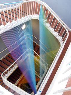 Gabriel Dawe, Plexus No. 11, site specific installation at east wing x, gütermann thread, painted wood and hooks, dimensions variable, 2011