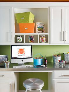 Crafts Room Clutter-Busters | Use galvanized buckets to contain brushes and pencils. For items that dry out over time, such as glue sticks and markers, look for lidded canisters in the home-canning or food-storage section. Canvas closet bins hold papers and bulky tools, such as stamps and paper punches.