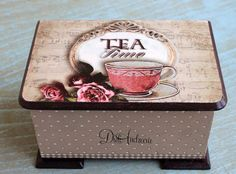 Tea Tray, Tea Box, Coffee Box, Fabric Paint Designs, Decoupage Box, Altered Boxes, Vintage Wood, Painting On Wood, Wood Crafts
