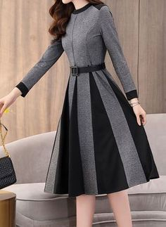 Color Block Ruffles Round Neckline Midi X-line, Dress - Dark Gray / XXL in 2020 Formal Dresses With Sleeves, Modest Dresses, Stylish Dresses, Elegant Dresses, Vintage Dresses, Casual Dresses, Maxi Dresses, Pretty Outfits, Pretty Dresses