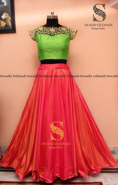 Green and pink Half Saree Lehenga, Lehnga Dress, Kids Lehenga, Lehenga Blouse, Indian Lehenga, Anarkali, Sarees, Half Saree Designs, Lehenga Designs