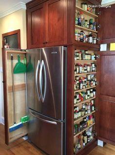 End Cabinet Hidden Spice Storage #casascolonialesinteriores