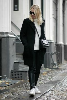 monochrome style bykrog fashion strret style teddy coat leather leggings white turtleneck
