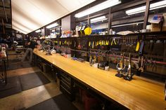 WOW! This very long bar was made from a long section of a salvaged bowling lane…