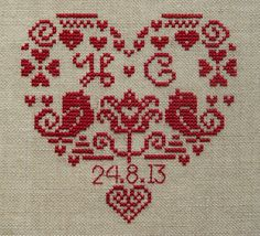 Personalised Heart Wedding Sampler - Instant Download PDF Cross Stitch Pattern // clementinesneedle etsy shop