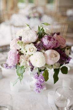 Lovely purple, white + blush centerpiece