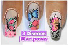 Ideas Fails Art Flores French Tips Diy Nails, Cute Nails, Pretty Nails, Butterfly Nail Art, Butterfly Design, Mandala Nails, Animal Nail Art, Nail Effects, Nail Art Videos