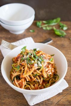 """Zucchini """"Pasta"""" with Tomato Sauce (includes tip to salt and drain zucchini first) #vegetarian"""