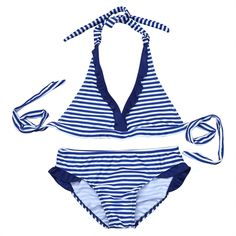 d3dd421a6da4f CHICTRY Girls' 2 Pieces Halter Tie Stripe Tankini Swimwear Bikini Swimsuit  Bathing Suit Blue 11-12 Years: Amazon.co.uk: Clothing