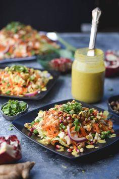 Indian Carrot Lentil Salad with Curry Tahini Dressing (Vegan)
