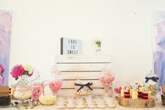 DIY Lolly Buffet for our Engagement Party Keeping it simple and rustic with apothecary jars and color themed sweets, fresh flowers and a light box sign Alternative to bonbonniere Wedding Ideas Cookies and mini naked cakes by: Two Sweet Figs, Sydney Photo credit: darsography