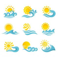 Buy Waves Sun Icons Set by macrovector on GraphicRiver. Waves flowing water sea ocean icons set with sun isolated vector illustration.Editable EPS and Render in JPG format Sol Tribal, Surfboard Painting, Tattoo Sonne, Doodle Drawing, Sun Painting, Sun Logo, Sun Tattoos, Sun Art, Sea And Ocean