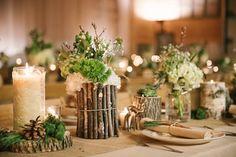 DIY-friendly wood tabletop ideas. | Taylor and Joshua's Woodland Deer-Themed Wedding via Love Inc. | photo by Allie Siarto Photography #rusticwedding #diywedding #barnwedding