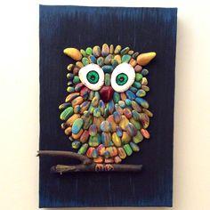 Çakıl taşı, pebble art, owl
