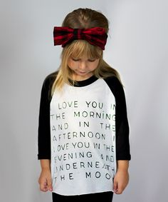 Look at this IScreenYouScreen White & Black 'Underneath the Moon' Raglan - Toddler & Girls on #zulily today!
