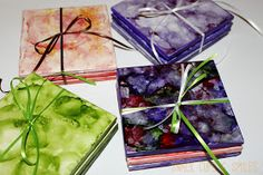 DIY Ink Dyed Tile Coasters