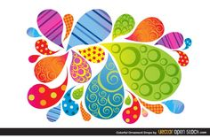 Colorful Patterned Bubble Shapes Vector - http://www.dawnbrushes.com/colorful-patterned-bubble-shapes-vector/