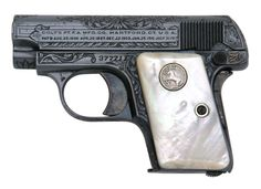 Colt 1908 Vest Pocket .25 ACP, Factory B Engraved with Mother of Pearl stocks.