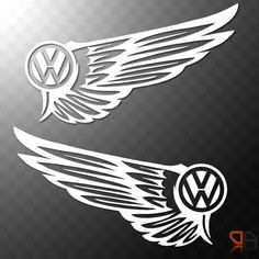 VW Volkswagen Wings - Vinyl decal sticker Golf Beetle Camper Van DUB t4 t5 SMALL