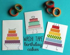 Washi Tape Crafts - Washi Tape Birthday Cake Cards - Wall Art, Frames, Cards, Pencils, Room Decor and DIY Gifts, Back To School Supplies - Creative, Fun Craft Ideas for Teens, Tweens and Teenagers - Step by Step Tutorials and Instructions http://diyprojectsforteens.com/washi-tape-crafts