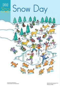 Winter Kindergarten Counting & Numbers Worksheets: Snow Day Numbers: Practicing Counting