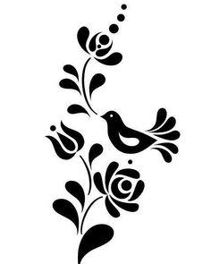 Pin by Sharon Chaz on stencils Hungarian Embroidery, Folk Embroidery, Embroidery Patterns, Hungarian Tattoo, Bird Stencil, Stencil Art, Stencil Patterns, Stencil Designs, Gravure Illustration
