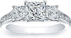 from tacori. This is my favorite by far. :) Three Stone Princess Cut Engagement Ring w/ Channel Set Princess Sidestones SCS1265C