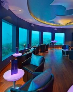 """The nightclub """"Subsix"""" opened in 2012 inside the Niyama resort, and is the world's first underwater nightclub.  This beautiful oasis is located in Maldives.  HOT!"""