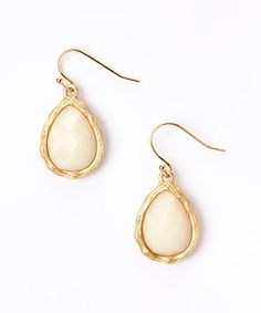 Love this Gold & Ivory Lucite Teardrop Earrings on #zulily! #zulilyfinds