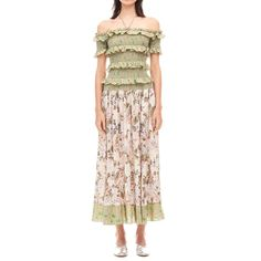 -evaChic--This Rebecca Taylor Off-The-Shoulder Mixed Print Dress right from the SS17 lookbook is a mix of ruffled and ruched details. The off-the-shoulder neckline gets a playful touch through halter-style straps and the bodice has a fabulous textural feel. The full skirt and the floral motif are prairie-inspired.      https://www.evachic.com/product/rebecca-taylor-off-the-shoulder-mixed-print-dress/
