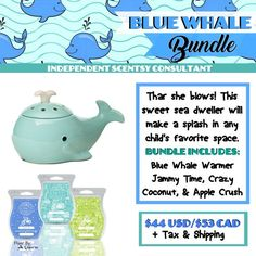SCENTSY BLUE WHALE BUNDLE: Combine & Save - Scentsy System = $30 warmer + 3 Scent Bars.