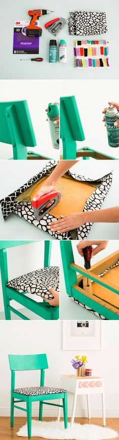 Upgrade a basic chair with spray paint and fabric. It's that easy! #ReupholsterChair