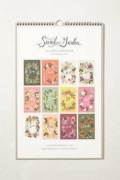 """Secret Garden"" Illustrations 2014 Calendar Anthropologie $24"
