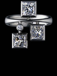Jewellery Theatre EQUILIBRIUM RING Ref: E*1_070 WBP1 18K White Gold  4 diamonds 3,015-3,09 ct  281 diamonds 0,098-0,105 ct