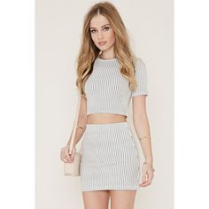 Forever 21 Women's  Stripe Mini Skirt ($13) ❤ liked on Polyvore featuring skirts, mini skirts, full length skirt, forever 21, striped mini skirt, elastic waist skirt and textured skirt