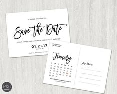 Save the Date Postcard Invitation  Calendar by paperandinkdesignco