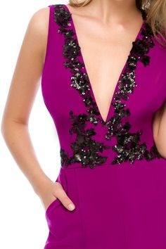 We dare you to be elegant and comfy wearing the perfect purple jumpsuit - Odette by Athena Philip >>> www. Glamorous Evening Dresses, Luxury Dress, Jumpsuit, Comfy, Glamour, Elegant, Purple, How To Wear, Viola