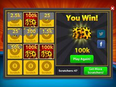 Get 8 Ball Pool 50000 coins and 200 spins free! 8 Pool Coins, Hello Games, Coin Tricks, Fair Use Guidelines, Pool Hacks, Pool Images, App Hack, Money Games, Kiddie Pool