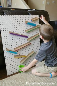 Woodworking For Kids Engineering for Kids: Build a Changeable Pegboard Marble Run - Woodworking For Kids, Woodworking Crafts, Teds Woodworking, Woodworking Beginner, Woodworking Machinery, Woodworking Techniques, Woodworking Furniture, Wooden Furniture, Kids Crafts