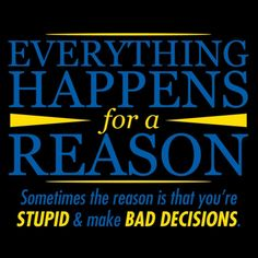 Everything Happens For A Reason. Sometimes The Reason Is That Your Stupid And Make Bad Decisions T-Shirt
