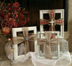 Burlap ribbon cross picture frames. Designed by Crafty bug