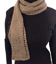 Free Knitting Pattern - Scarves: Unisex Lace Border Scarf