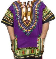 2d2ab0db8e1 African Dashiki Mens Shirt Hippie Top Rasta Mexican Poncho Gypsy One Size  Purple #Unbranded #