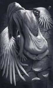 Broken Wings An angel of repentance with a heart of stone. A heart that was once soft to the touch, now lay dormant, cold as rigid ice. Her long dark flowing hair wrapped around a pale slim body adorned with broken wings torn to shame, which she wore like Dark Fantasy Art, Fantasy Kunst, Dark Art, Fantasy Women, Geometric Tatto, Ange Demon, Angel And Devil, Chicano Art, Angel Pictures