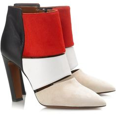 Calvin Klein Collection Colour Block Nanette Heels ($415) ❤ liked on Polyvore featuring shoes, boots, ankle booties, heels, scarpe, red, heeled booties, cutout booties, red wing boots and high heel boots