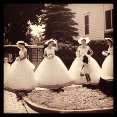 Beautiful #bridesmaids dresses from June 1959. #weddings #vintage