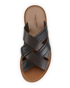 Bottega Veneta criss-cross leather and crocodile slide sandals