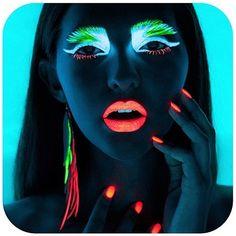 Glow on the dark makeup, neon color run ideas!