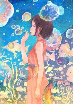 Imagen de anime, girl, and art