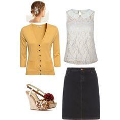 My Apostolic Style Lace Denim Yellows Peter Pan Collar
